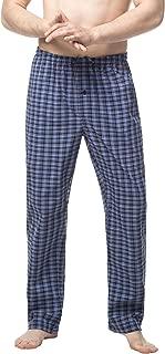 Men's 100% Cotton Woven Pajama Lounge Sleep Pants Plaid PJ Bottoms w Pocket and Drawstring M38