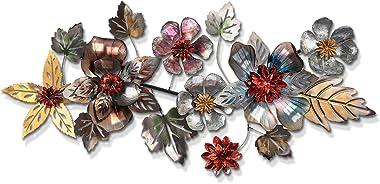 Multiple Layer Metal Flower Leaf Wall Art Sculpture, Metal Flowers Wall Sculpture, Metal Wall Decor, Wide Metal Wall Art, Han