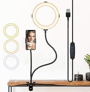 TARION リングライト 8インチ クリップ式ライト フレキシブルアーム スマホクリップ付き 軽量 3色味 高輝度 大光量 おしゃれ まくらもと用スタンド 組み立て簡単 コンパクト ライブ配信、web会議、メイク、照明、自撮りなどに適用