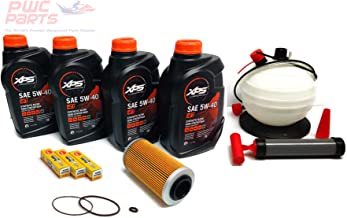 SeaDoo 4-TEC Oil Change Kit ALL 2002+ 4-TEC 130/155/185/215/255/260hp GTX RXT RXP RXP-X RXT-X GTI w/ 4 Quarts XPS 05W30 Oil, 4-TEC Oil Filter, O-Ring Kit, NGK Spark Plug Set, 6L Oil Extractor Pump
