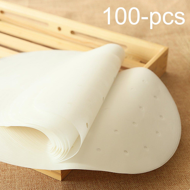 Air Fryer Parchment Paper Liners,9 inch Non-Stick Bamboo Steamer Parchment Paper for Air Fryer,Baking Cakes,Cooking 100Pcs