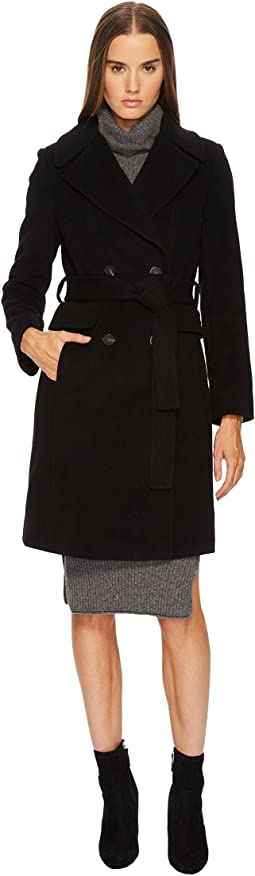 Diane von Furstenberg - Double Breasted Tie Waist Wool Coat