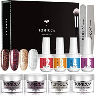 TOMICCA Nail Dipping Powder Kit, 4 Colors 0.52oz Glitter Colorful Dipping Powder System Starter Kit Powder For French Nail...