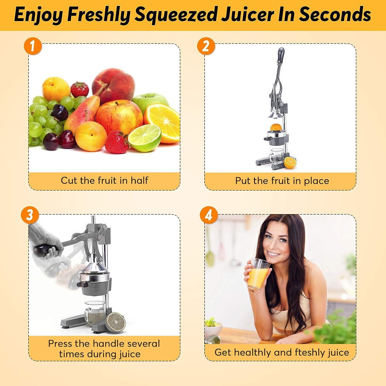 Slendor Commercial Citrus Juicer Manual Fruit Juicer and Orange Squeezer Metal Hand Press Juice, Heavy Duty Orange Juicer Lemon Lime Squeezer Pomegranate Premium Quality with Bonus Skimmer Spoon: Home & Kitchen
