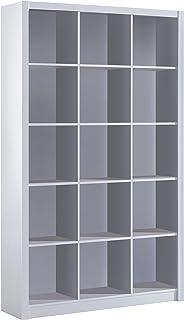 Habitdesign 005493BO - Estantería librería triple color Blanco Brillo medidas 195 x 114 x 30 cm de fondo