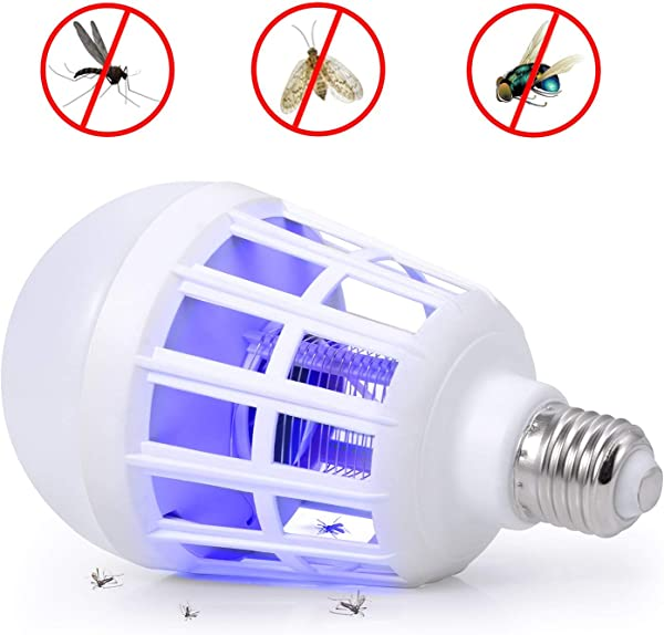 Bug Zappers Light Bulb 2 In 1 Mosquito Killer Lamp Electronic Insect Killer Fly Killer Built In Insect Trap Fits 110V E26 E27 Light Bulb Socket Suit For Indoor Outdoor Porch Patio Backyard