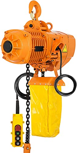 Mophorn 1 Ton Electric Chain Hoist, Single Phase 2200Lbs 10ft Lift Height with Electrical Hook, Mount Chain Hoist G80, Double Chain with Pendant Control 110V for Logistics, Factories and Agriculture