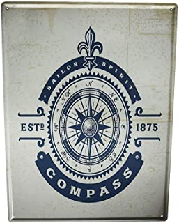 Losea Oceans Compass Rustic Retro Metal Tin Sign Wall Decor Art 8x12Inches