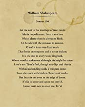Willam Shakespeare Sonnet 116 - Wall Decor Art Print - 8x10 unframed typography book page print - great gift for book and ...