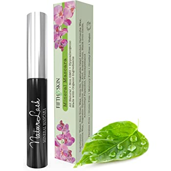 Fifth & Skin NATURLASH Natural Mascara (BLACK) - Hypoallergenic Mascara for Sensitive Eyes – Vegan & Cruelty Free Mascara – Gluten Free - Paraben Free - Nourish, Lengthen & Thicken
