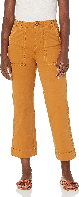 Goodthreads Women's Standard Stretch Chino Wide-Leg Military Crop Pant