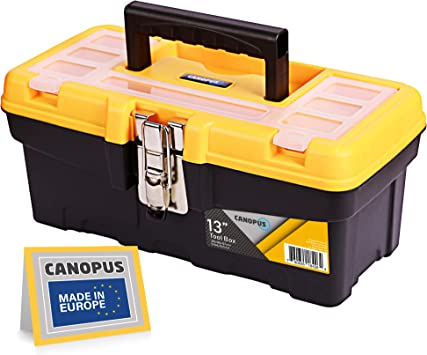 CANOPUS Plastic Toolbox, 13-inch Portable Tool Box with Metalic Clutch, Tool Organizer with Extra Storage Tray for Home Tools, Nails and Pins, Black-Yellow: image