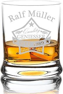 polar-effekt Leonardo Whiskyglas Personalisiert 350 ml - Tumbler für Whiskey, Scotch und Co - Männer-Geschenk mit Gravur Name und Jahreszahl - Motiv Quality Stern