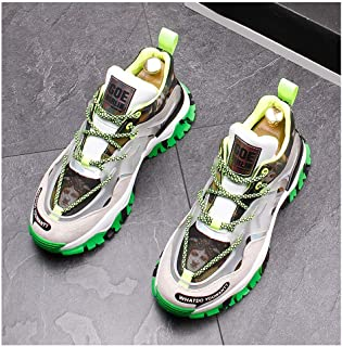 Fashion Trendy Printed Casual Shoes Peculiar Individuality Non-Slip Wear-Resistant Sneakers Lace Up Breathable Travel Men's Shoes Lightweight Outdoor Sports,Green,43EU