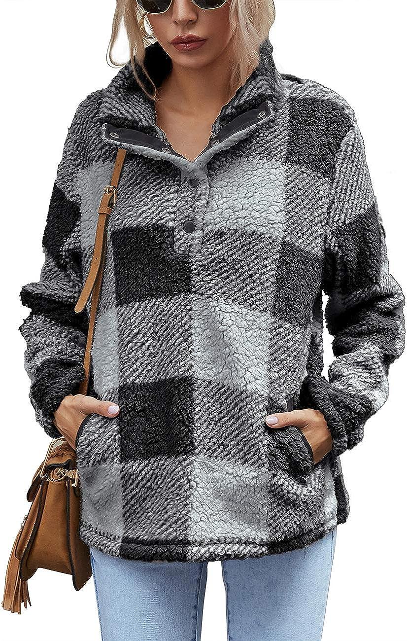 AKEWEI Women Faux Fleece Sweatshirt Fuzzy Button Pullover Coat with Pocket