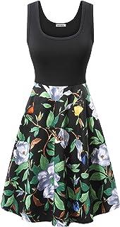 0304ce5df4 VETIOR Women s Vintage Scoop Neck Midi Dress Sleeveless A-line Cocktail  Party Tank Dress