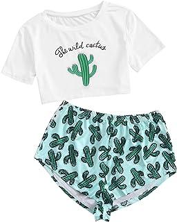 DIDK Conjunto de pijama con estampado de letras y cactus para mujer