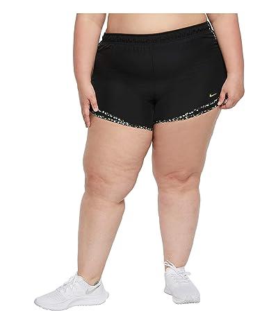 Nike Tempo Shorts (Size 1X-3X) (Black/Black/Glacier Ice/Tea Tree Mist) Women