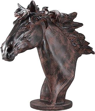 "Ebros Large Antique Bronze Resin Finish Horse Head Bust Statue 20.25"" Long Stallion Resin Decor Sculpture Figurine"