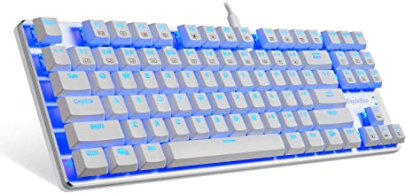 EagleTec KG061-BR Mechanical Gaming Keyboard, Compact Low Profile, 87 Key Tenkeyless with Cherry MX Brown Switches for PC Gamer (White Blue LED Backlit)