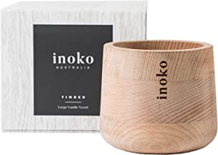 Inoko Timber Candle Vessel w Refill Lychee Peony, Large