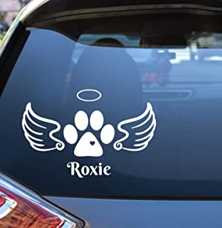 Angel Paw Print Loving Memory Vinyl Decal with Halo and Wings - Add Name if Desired - Choose Colors and Size