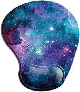 Dooke Ergonomic Mouse Pad with Wrist Support, Cute Mouse Pads with Non-Slip Rubber Base for Home Office Working Studying Easy Typing & Pain Relief Galaxy