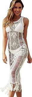 Womens Crochet Tassel Beach Wear Cover up Swimwear Bikini Long Maxi Beach Dress