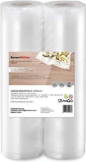 Bonsenkitchen Sacchetti per Sottovuoto, 2 rotoli 28 x 300 cm Sacchi commerciali per conservazione alimenti e cottura Sous ...