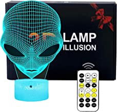 FLYMEI 3D Nightlights for Kids 3D Alien Desk Lamp Unique Night Light for Room Decor 7 Colors Changing USB Powered Touch Button LED Table Lamp - Best Gifts for Kids/ Friends/ Birthdays/Christmas