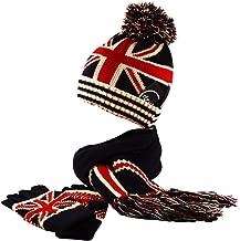 Itzu Union Jack Knit Bobble Beanie Hat Fingerless Gloves Scarf Winter Navy Red Cream (2/3 Piece Set)