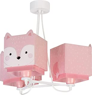 Dalber Little Fox Lámpara Infantil de Techo 3 Luces Zorro Animales, 60 W, Rosa