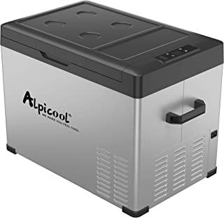 Alpicool C40 Portable Refrigerator 42 Quart(40 Liter) Vehicle, Car, Turck, RV, Boat, Mini Fridge Freezer for Travel, Outdoor and Home use -12/24V DC and 110-240 AC(Black and Silver)