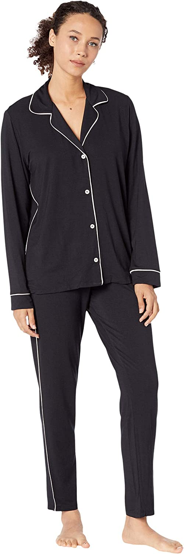 Gisele Tuxedo Slim Women's Pajama Set Las Vegas Mall Max 45% OFF Fron Down Button Shirt w