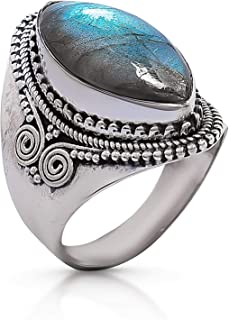 Details about  /925 Sterling Silver Natural Round Labradorite Gemstone Men/'s Ring Christmas Gift