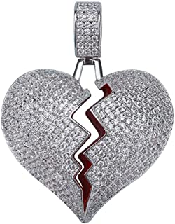Solid Broken Heart Lced Out Necklace & Pendant Charm for Men Women Gold Color Cubic Zircon Necklace Hip Hop Jewelry