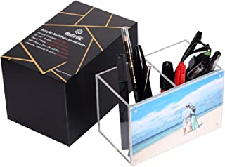 """MEHE Acrylic Pen Holder,Picture Frame 6""""x 4""""Magnetic Photo Display,Desktop Stationery Office Accessory [Gift Box Package]"""