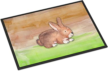 """Caroline's Treasures Rabbit Watercolor Doormat 18"""" x 27"""" Multicolor"""