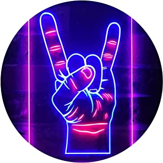 Rock n Roll Hand Heavy Metal Horn Band Dual Color LED Neon Sign Blue & Red 300 x 400mm st6s34-i2948-br