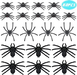 Newbested 60 Pcs Realistic Fake Black Tricky Spiders Toys Assorted Sizes Halloween Scary Prank Bugs Plastic Cement Creepy Spider Hairy Props Party Decoration Halloween Supplies Large Medium Small Size