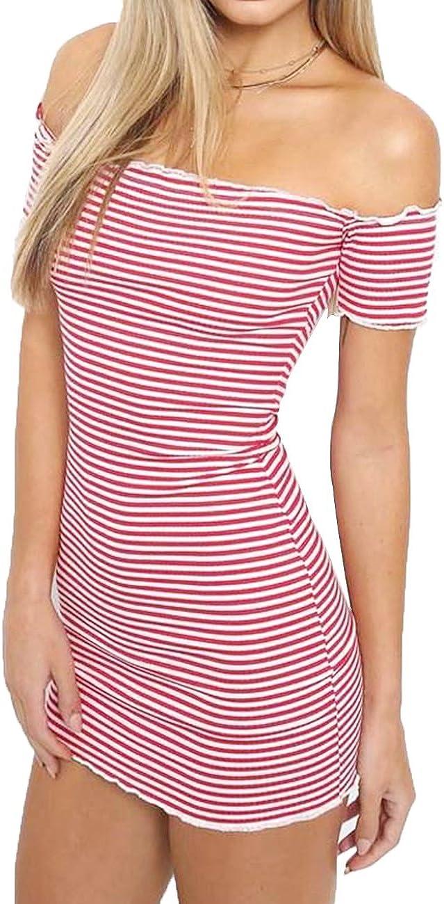Haola Womens Off Shoulder Dress Summer Sexy Bodycon Mini Dresses