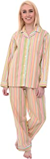Alexander Del Rossa Women's Lightweight Button Down Pajama Set, Long Printed Cotton Pjs