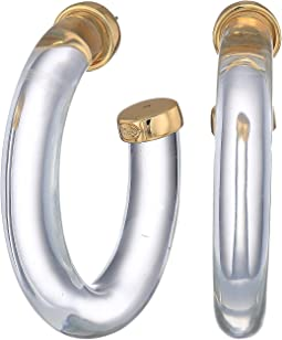 Large Clear Polished Gold Ends Hoop Pierced Earrings