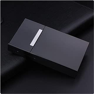 Women Fashion Ultra Thin Aluminum Cigarette Case100mm Cigarette Box Mini Cigarette Holder,Black