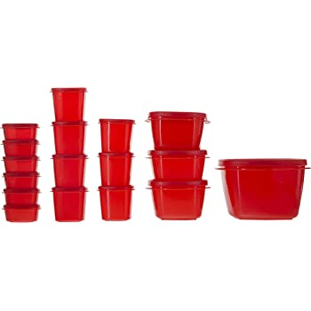 Cutting Edge SuperSturdy Eco Plastic Container Set, 17-Pieces, Red