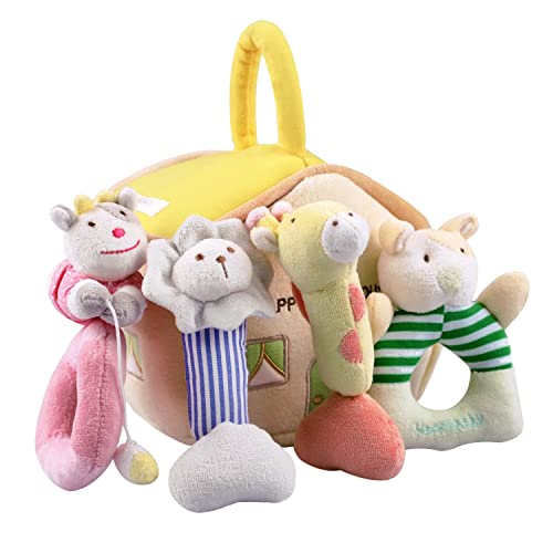 iPlay, iLearn 4 Plush Baby Soft Rattles Set, Developmental Toy w/ Hand Grip