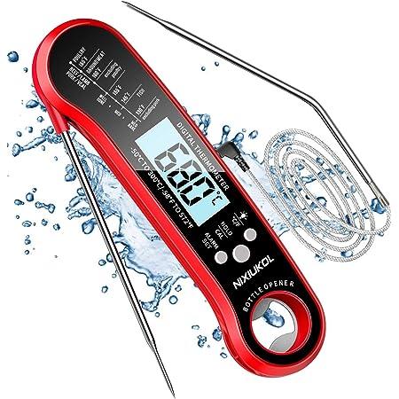 NIXIUKOL Thermomètre Cuisine 2 en 1, Thermometre Cuisson Etanche IP67 avec 3s Lecture Instantané, 2 Sondes, Alarme de Température, Écran LED RétroÉclairage, Thermomètre Cuisine pour Grill Viande Lait