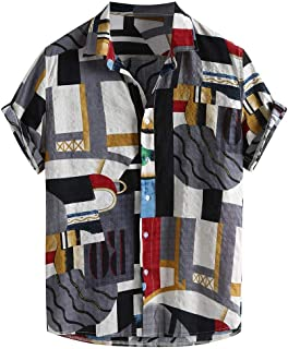 Fashion Hawaiian Shirts Mens Beach Party Holiday Camp Casual Short Sleeve Button Down T-Shirt Tops