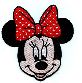 Iron On Embroidered Patch Top Quality Minnie Mouse Disney Red & White Bow 3-1/4