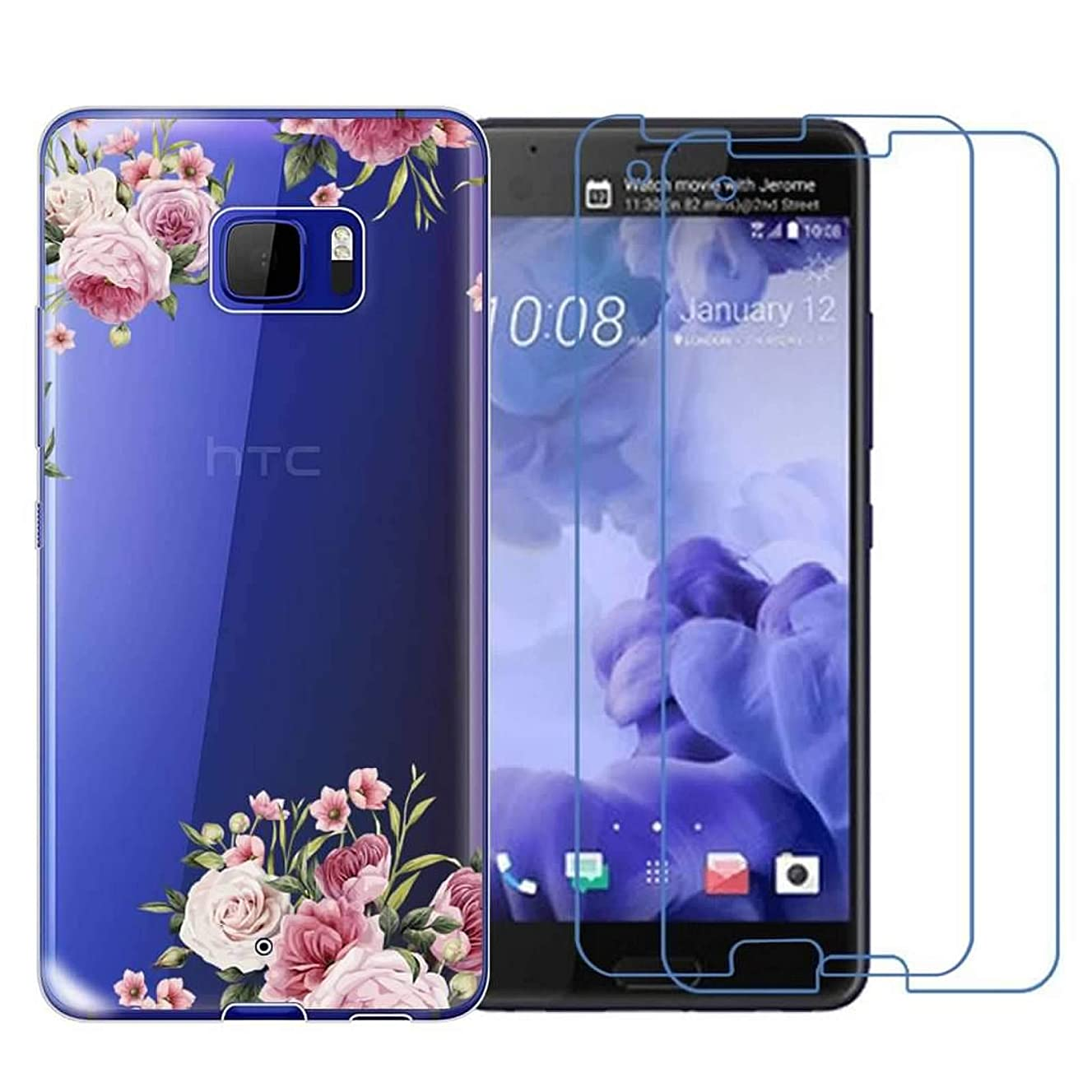 HTC U Ultra Case with 2 Pack Glass Screen Protector Phone Case for Men Women Girls Clear Soft TPU with Protective Bumper Cover Case for HTC U Ultra-Flower